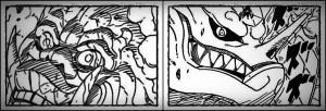 Mokuton Goubi de Hashirama (a esquerda) e Kyubi com armadura e sharingan de Madara (a direita).